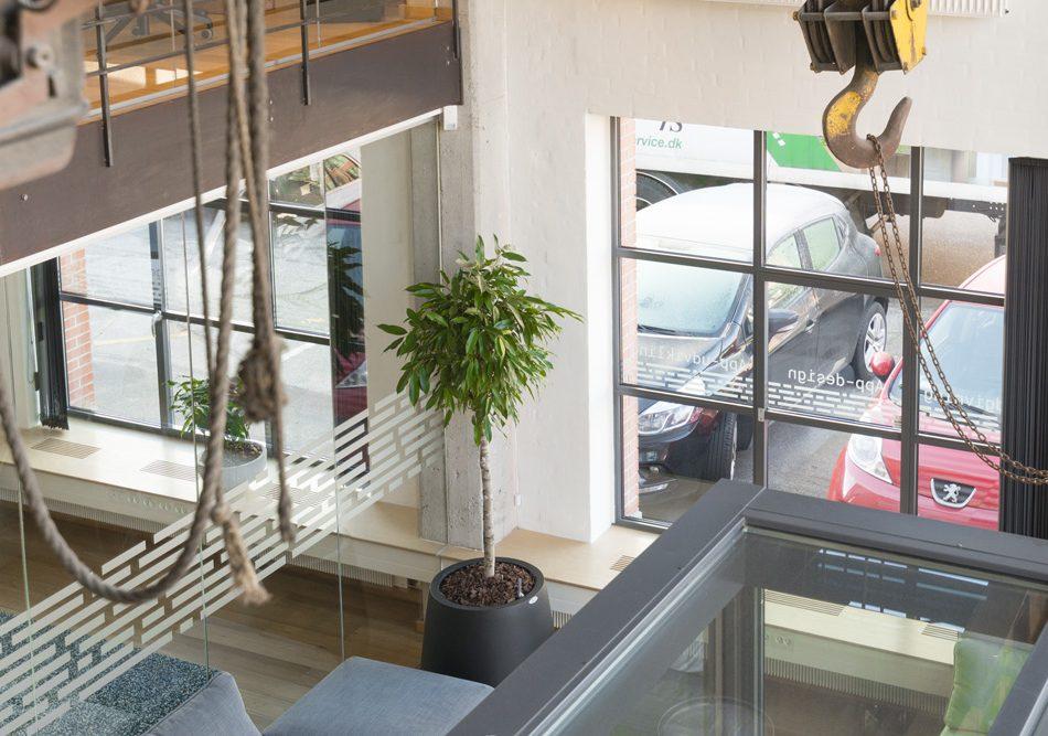 Rustik kontor miljø med planter,