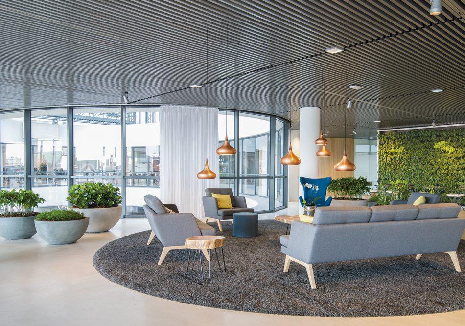 kontorplanter, plantevæg, kontormiljø, godt arbejdsmiljø