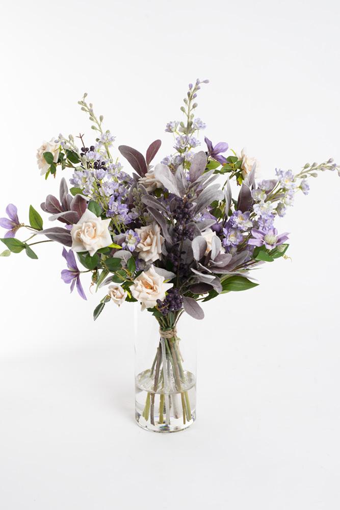 silkeblomster, kreative buketter, stor lilla buket,