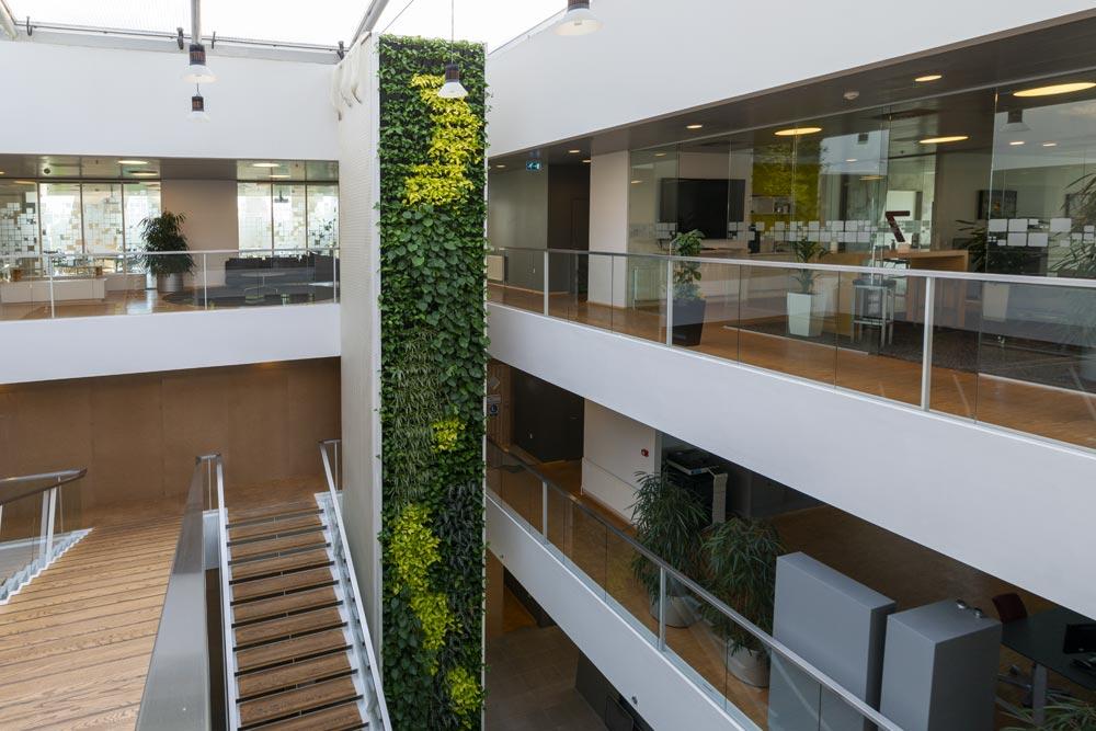 Stor plantevæg, farverige planter, kontorhus,